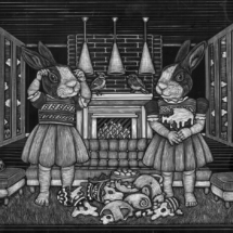 Andrea Hooge - the impatient bunnies - 2016 - scratchboard - 11x14 - 2lbs - $600USD